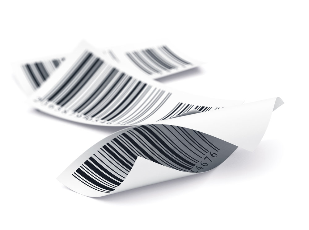 Three labels over white, decorative element barcode tags