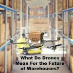 drone work in classic warehouse 3d image