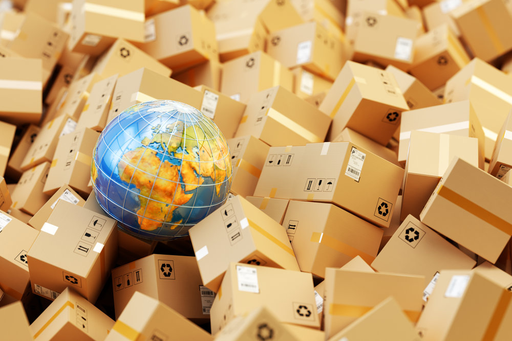 Background with heap of cardboard boxes, parcels and Earth globe
