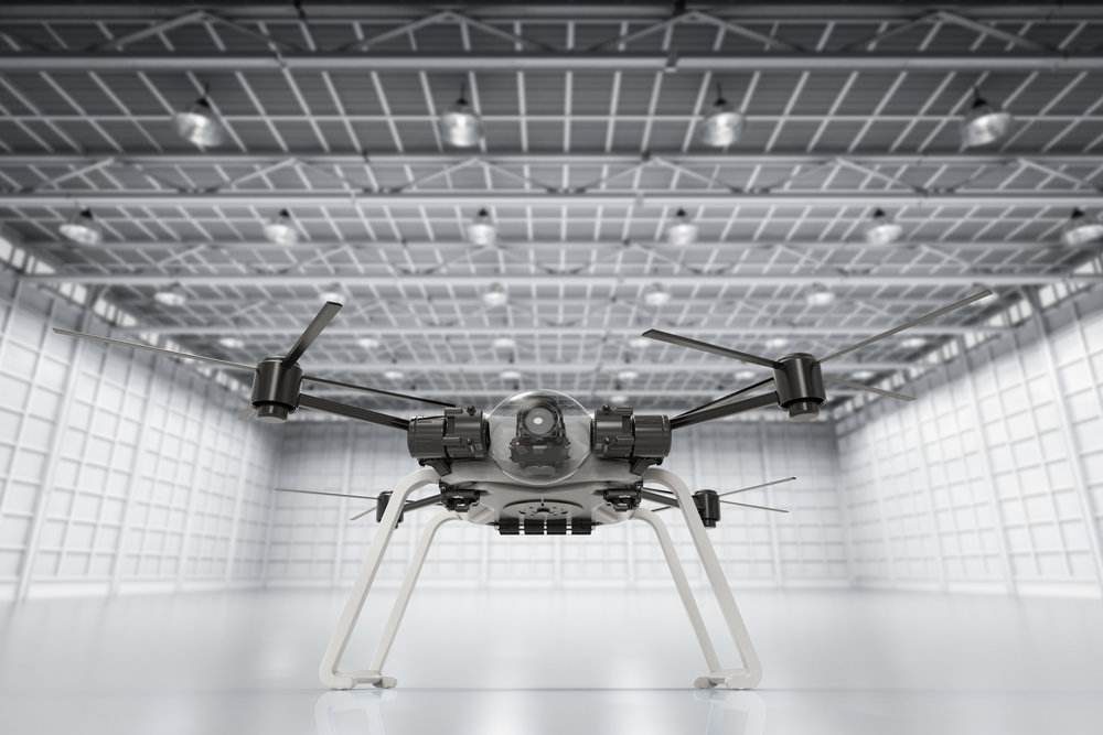 3d rendering drone in empty factory