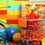 shopping trolley with a number of toys